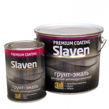 Грунт-эмаль Славен, коричневая, 3,2 кг.
